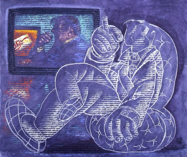 1994-commercial-break-casein-charcoal-pastel-on-board-51x60-7-cm