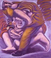 1992-domestic-encounter-oil-on-canvas-70x80-cm