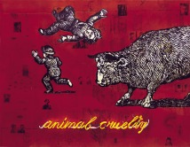 2009-2012-animal-cruelty-oil-mixed-media-and-neon-on-canvas-140x180